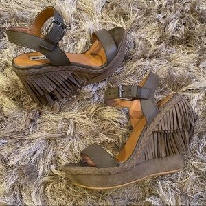 Not Rated Taupe Roaring Ruby Fringe Wedge Sandals